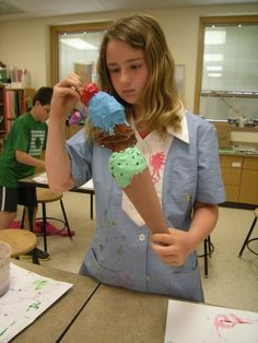Artolazzi: 5th grade paper mache ice cream cones.