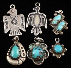 Vintage Native American Navajo Sterling Silver Turquoise Charms and Pendants