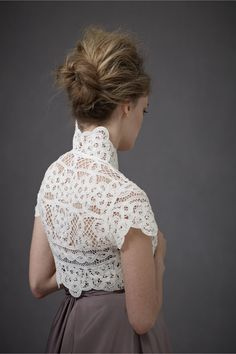 Reverse Shell Bolero from BHLDN    Just LOVE this Bolero!  So contemporary, and yet so nostalgic.