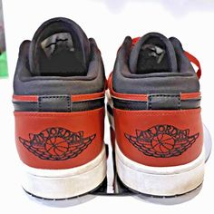 a2f64e57b739a0 Nike Size 13 IMPORT Men 553558-602 Black Red Air Jordan 1 Retro Low Top