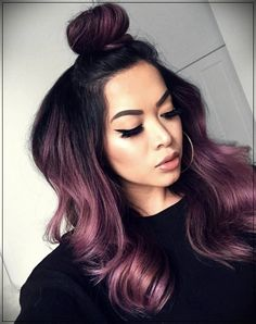 Rose gold hair color is here to stay and we are living for it! Read on for ideas on how to turn your rose gold hair color dreams into a reality. Hair Dye Colors, Ombre Hair Color, Cool Hair Color, Violet Hair Colors, Subtle Purple Hair, Deep Burgundy Hair Color, Hair Color Ideas, Purple Hair Streaks, Purple Black Hair