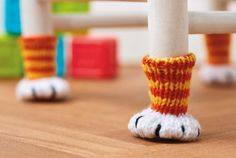 chair socks cat paw cat feet hand knit knitted crochet floor protector funny accessories quirky gift idea unique decor Mother's Day gift #CrochetMothersDay