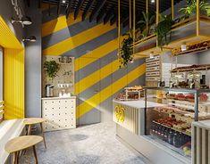 Samba cafe interior on Behance Bakery Shop Design, Coffee Shop Design, Restaurant Design, Bakery Interior, Cafe Interior Design, Plywood Furniture, Oriental Restaurant, Cafe Concept, Small Cafe