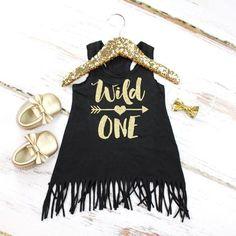 Girl's 1st Birthday Fringe Dress | 'Wild One' Black Fringe Tank Dress w/ Gold Arrow | Glitter Gold 'Wild One' and Heart Detail on Back