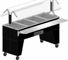 "Supreme Metal Triumph Portable Cold Food Buffet Table black vinyl clad finish open base - #B2-CPU-B    Triumph Portable Cold Food Buffet Table, ice cooled, (2) pan size, 8"" deep well, s/s tray shelf, Lexan® sneeze guard, open base, 5"" swivel casters w/two brakes, black vinyl clad finish"