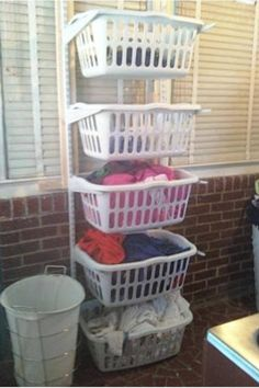 Laundry room or family closet? I've always wanted a laundry sorter Laundry Basket Dresser, Laundry Basket Organization, Home Organization, Laundry Baskets, Laundry Organizer, Organizers, Clothing Organization, Diy Organizer, Clothing Storage