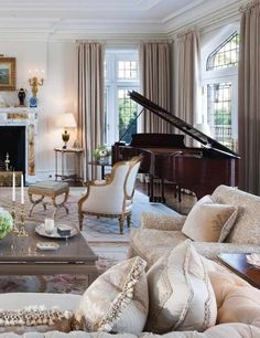 Beautiful living room in french style with a brown wooden piano and a fire place. High ceiling, beige furniture and pure perfection Formal Living Rooms, Home Living Room, Living Room Decor, Living Spaces, Living Area, Home Interior, Interior Decorating, Design Salon, Style Deco