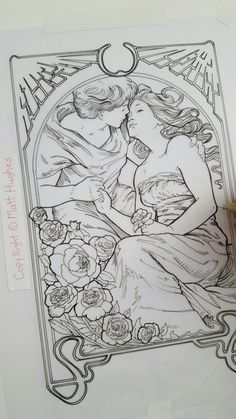 """matthughesart: """" LOVERS tarot card line drawing for the coloring book. www.etherealvisionstarot.com """""""