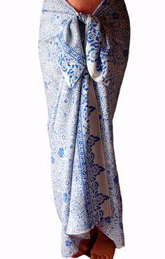 Batik Sarong Womens or Mens Clothing Swimsuit Coverup Sarong Pareo Wrap Skirt Beachwear - Beach Sarong Skirt White and Blue Womens Swimwear