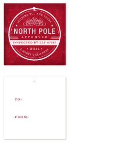 """Christmas / Printables / """"North Pole approved"""" gift tag"""
