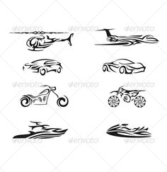 Vehicle Tribal Vector  #GraphicRiver         This is a set of vehicle tribal vector.   This set of black silhouette can be used for any design works that are related to vehicle, car, plane, yacht, jetski,moto cross,chopper,and helicopter   This file is saved in EPS8 , thus editing is very easy.