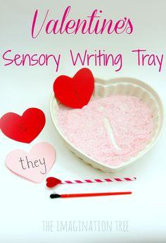 Make a playful literacy resource for kids to practise their letter sounds and sight words in this Valentine& sensory writing tray! Valentine Sensory, Valentine Theme, Valentines Day Activities, Holiday Activities, Valentine Day Crafts, Literacy Activities, Activities For Kids, Valentine Ideas, Valentine Stuff