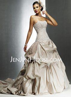 Wedding Dresses  - Ball-Gown Sweetheart Chapel Train Taffeta  Lace Wedding Dresses With Lace  Beadwork (002000491) http://jenjenhouse.com/Ball-gown-Sweetheart-Chapel-Train-Taffeta--Lace-Wedding-Dresses-With-Lace--Beadwork-002000491-g491 216.99