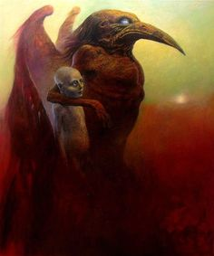 I'll Give You My Angel (Acrylic on hardboard, 39 x White Soul, White Worm (Acrylic & Oil, 47 x By Dariusz Zawadzki The Crow, Baphomet, Dark Fantasy, Fantasy Art, White Worms, Pop Surrealism, Modern Surrealism, Art Graphique, Horror Art