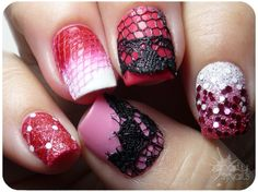 .nail art reds n pinks