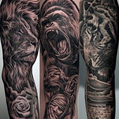Roaring Gorilla With Calm Lion Guys Amazing Sleeve Tattoo Ideas