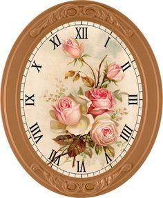 pink roses clock