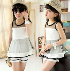 Girls clothing sets Summer 2016 Ropa mujer sets Children clothing Kids fashion suits sleeveless t shirts+shorts set Baby Outfits, Kids Outfits Girls, Kids Girls, Baby Girls, Wholesale Baby Clothes, White Lace Blouse, Cheap Kids Clothes, Look Girl, Kids Suits