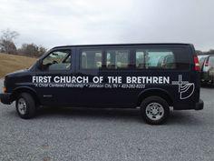 883e116340c95e First Church of the Brethren shuttle van graphics Car Lettering