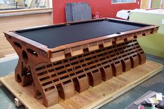 The VertX is Earth's most unique wood pool table equally at home in both modern and traditional decors. Billiard Pool Table, Billiards Pool, Table Games, Game Tables, Custom Pool Tables, Poker Table, Construction, Game Rooms, Gaming