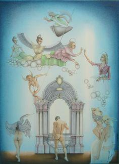 """Surrealisme in opdracht. Titel: """"Der Teufel und der Engel """" - 2006 Gemengde techniek op 500gr papier"""