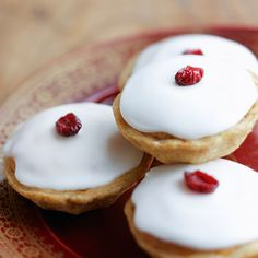 They may look like cherry bakewells but these are mince pies with a difference. Serve them up as a change from regular pies.