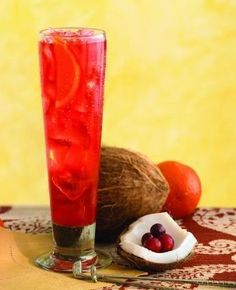 Ruby Relaxer-Ice 1.5 oz Malibu Rum 1.5 oz Vodka 1.5 oz Peach Schnapps Equal parts cranberry and pineapple juice