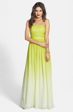 ERIN erin fetherston 'Isabelle' Ombré Chiffon Gown #ombre #yellow #green #gown #neon #chartreuse #dress #fashion