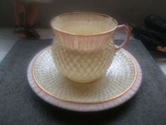 ANTIQUE-1891-1926-SECOND-BLACK-MARK-MARK-BELLEEK-PINK-THISTLE-CUP-AND-SAUCER