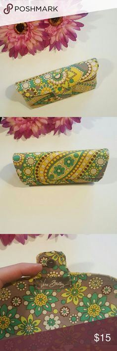 Vera Bradley Eyeglass Case NWOT Beautiful yellow, brown, turquoise colors. Hard eyeglass case with magnetic snap closure. Never used, didn't fit my glasses.  Measures 6 inches long and 1.5 inches wide at largest and 2 inched tall.  Inside case would fit 6 inch long, 1.5 wide on top and tapers down. Depth of inside is about 1.75 inches Vera Bradley Accessories Glasses