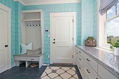 Martha O'Hara Interiors - laundry/mud rooms - shingle paneled walls, shingled interior walls, turquoise shingles, turquoise shingled walls, ...
