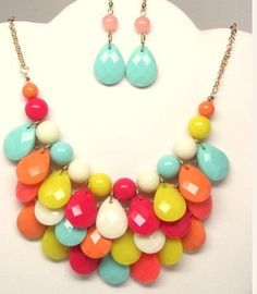 Teardrop Necklace with Earring, Bubble Necklace,Statement Necklace, Bib Necklace, Chunky Necklace, Cluster Necklace, Bubble Jewelry