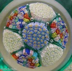 Incredible Intricate Millefiori Art Glass Paperweight 6 Flat Windows Vintage   eBay
