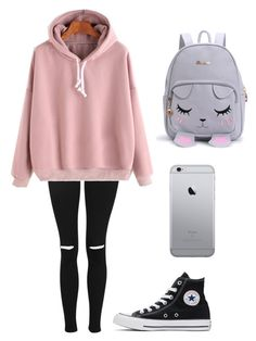 """Dianeeee"" by kylapascua ❤ liked on Polyvore featuring Topshop, WithChic and Converse"