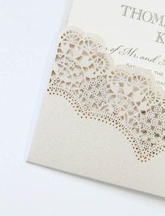 denver custom wedding invitation lace papercutting lasercut save the date