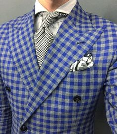 """By Connor Gallagher on Instagram: """"Playing with patterns today. #MusikaFrere #NYC #Details"""" blue check. Peak lapels."""