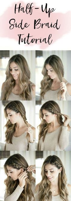 Beauty Tips A simple half up side braid hair tutorial perfect for adding a little elegance to your normal hair style! - A simple half up side braid hair tutorial perfect for adding a little elegance to your normal hair style! New Braided Hairstyles, Braided Hairstyles Tutorials, Trendy Hairstyles, Hairstyle Ideas, Wedding Hairstyles, Hairstyles Pictures, Easy Elegant Hairstyles, Fashion Hairstyles, Easy Hairstyles Tutorials