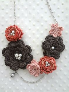 Crochet Winter Roses Necklaceirish rosescrochet by sewella on Etsy