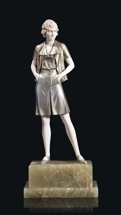 Ferdinand PREISS (1882-1943) - 'GAMINE', circa 1925, cold-painted bronze and Ivory figurine on onyx base. H. 13¼ in. (33.5 cm) Base engraved F. Preiss. (hva)