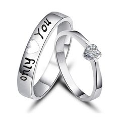 New Fashion Only You 925 Sterling Silver Plated White Gold Cubic Zirconia Lover's Ring