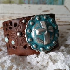 TURQUOISE Patina CROSS Concho on Brown by BellaNotteDesigns #leather #cuff #bracelet #handmade #turquoise #cross #religious #christian #jewelry #rustic