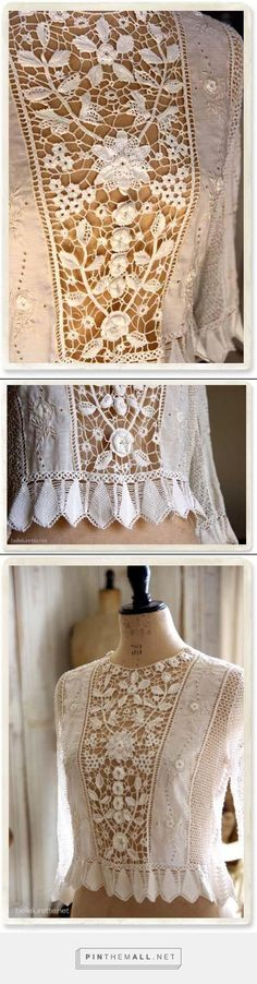 Gorgeous blouse with wide Irish crochet lace central panel. Whitework & eyelet embroidery on lateral fabric panels (cotton batiste?) Crochet sleeves and wide lace edging on cuffs and waist, the teardrop-shaped elements on the edging also resemble the construction of Irish lace leaves.