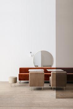 GUBI // Modern Line Pouffe, Sofa and Lounge Chair, Bestlite BL7, GUBI Mirror, GUBI Dining Table 1.0