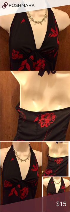 """Hourglass Black Women's Halter Top Dress Sz. L This dress can go from work to an evening out on the town. The hemline is in a V shape. I am 5-3"""" and it comes over my knees. Length is 30"""". Armpit to armpit measures 18"""". Pet free smoke free home. Hourglass Dresses Midi"""
