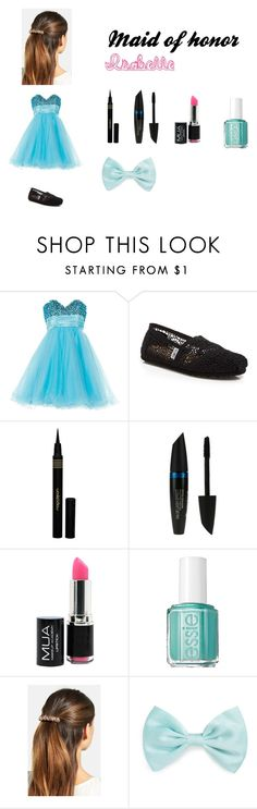 """Maid of honor"" by just-r5sos ❤ liked on Polyvore featuring Anoushka G, TOMS, Napoleon Perdis, Max Factor, Essie, L. Erickson, Forever 21, women's clothing, women and female"