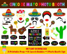 Cinco De Mayo Photo Booth Props–42 Pieces (31 props,10 speech bubbles,1 photo booth sign)-Printable Mexican Fiesta Props-Instant Download