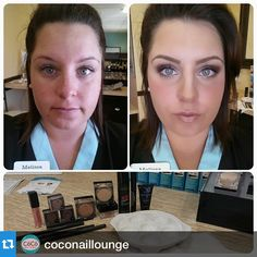 "A Mineralogie ""before and after"" from CoCo Nail Lounge! #makeup #mineralmakeup"