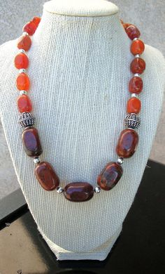 Brown/ burnt orange Jasper and Fire Agate by LolasCustomJewelry, $79.00