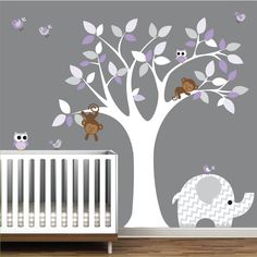 Wall Art Decor Jungle Decal Elephant Owl Monkey. $145.00, via Etsy.