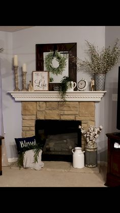 Decorating Mantle fireplace decor From Cluttered to Classy - A Rustic Glam Fireplace Makeover Christmas Fireplace Mantels, Home Fireplace, Fireplaces, Fireplace Design, Fireplace Mantle Decorations, Fireplace With Mirror, Decorate Mantle, Fireplace Hearth Decor, Chimney Decor